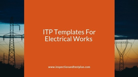 Inspection And Test Plan Templates For Electrical Works